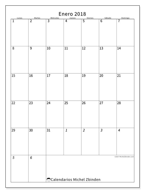 Calendario enero 2018 (68LD). Calendario mensual para imprimir gratis.