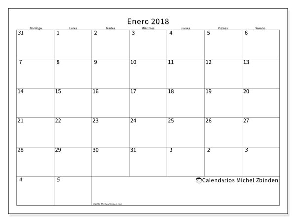 Calendario enero 2018 (70DS). Planificación para imprimir gratis.