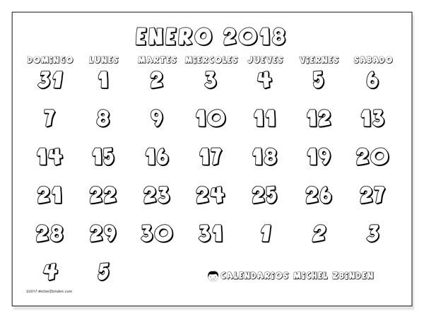 Calendario enero 2018 (71DS). Planificación para imprimir gratis.