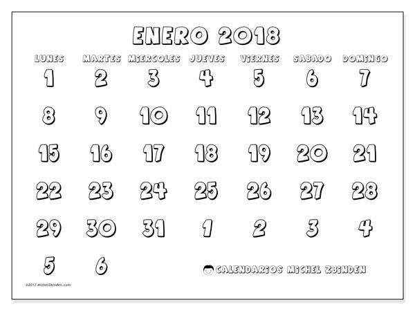 Calendario enero 2018 (71LD). Calendario para el mes para imprimir gratis.