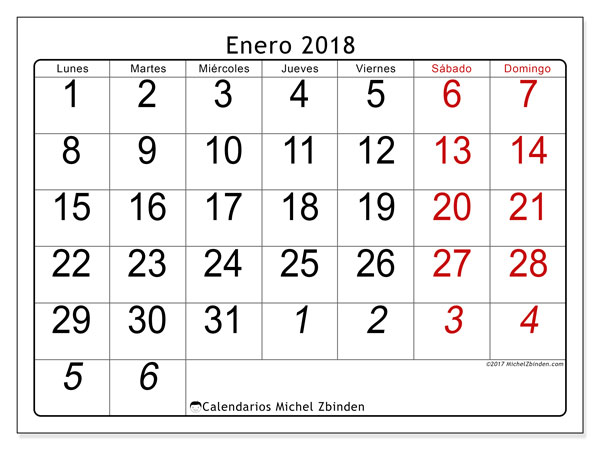 Calendario enero 2018 (72LD). Almanaque para imprimir gratis.