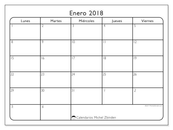 Calendario enero 2018 (74LD). Calendario imprimible gratis.