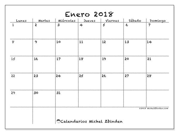 Calendario enero 2018 (77LD). Calendario imprimible gratis.