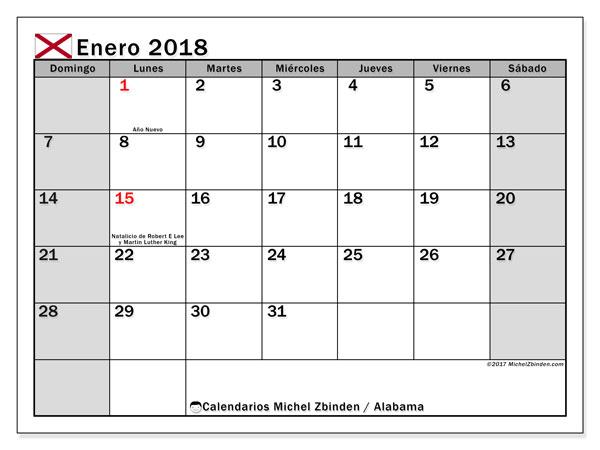 Calendario enero 2018, con los días feriados en Alabama. Calendario gratuito para imprimir.