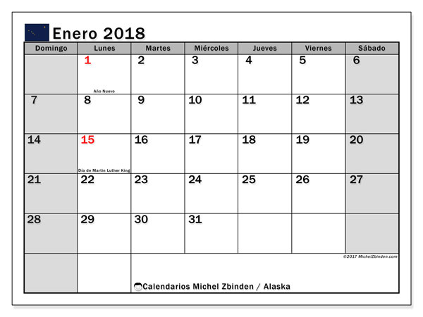 Calendario enero 2018, con los días feriados en Alaska. Calendario para el mes para imprimir gratis.