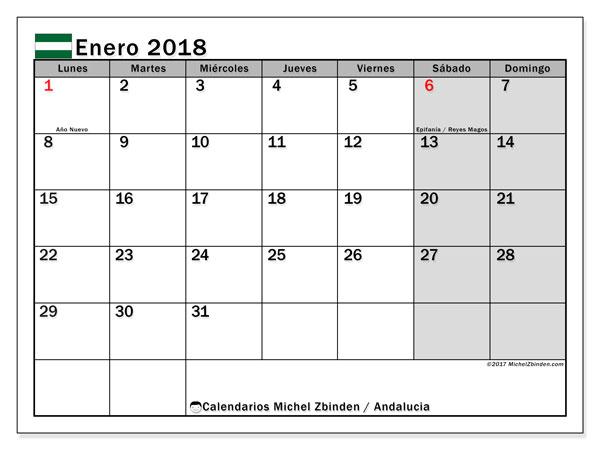 Calendario enero 2018, con los días festivos de Andalucia. Calendario gratuito para imprimir.