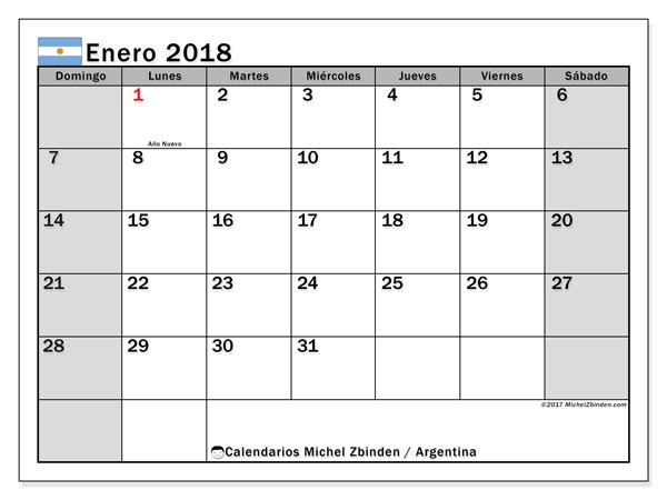 Calendario enero 2018, con los días feriados en Argentina. Calendario para el mes para imprimir gratis.