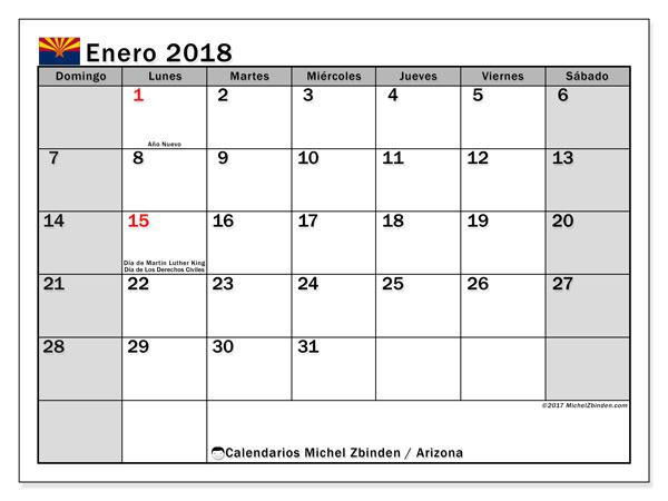 Calendario enero 2018, con los días feriados en Arizona. Calendario imprimible gratis.