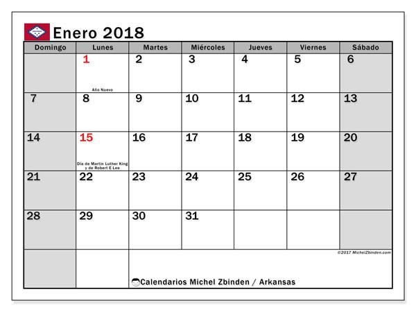 Calendario enero 2018, con los días feriados de Arkansas. Calendario para el mes para imprimir gratis.