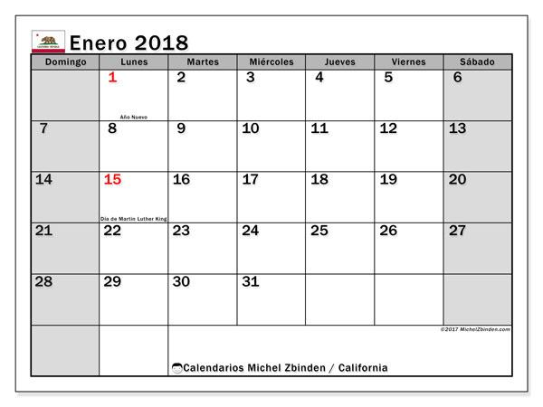 Calendario enero 2018, con los días feriados en California. Calendario para el mes para imprimir gratis.