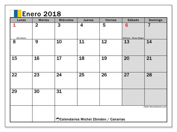 Calendario enero 2018, con los días festivos de las Islas Canarias. Calendario para el mes para imprimir gratis.