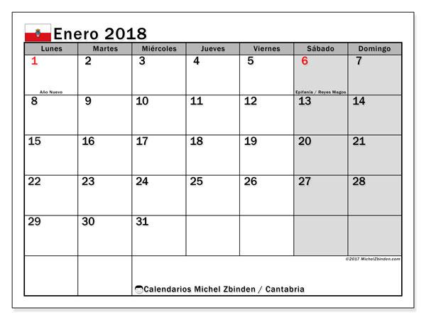 Calendario enero 2018, con los días festivos de Cantabria. Calendario para imprimir gratis.