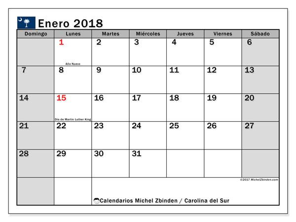 Calendario enero 2018, con los días feriados en Carolina del Sur. Calendario para imprimir gratis.