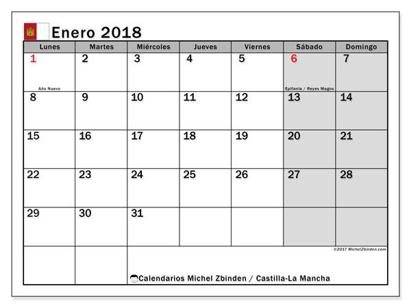 Calendario enero 2018, con los días festivos de Castilla-La Mancha. Calendario mensual para imprimir gratis.