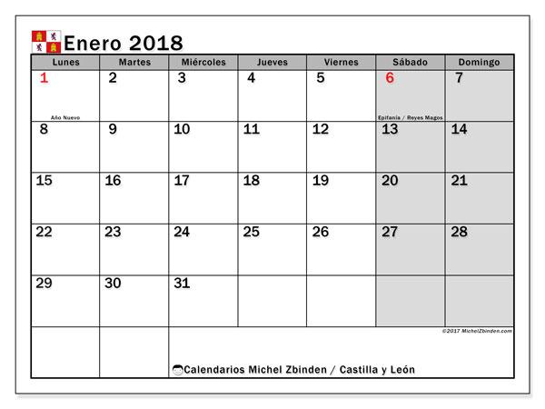 Calendario enero 2018, con los días festivos de Castilla y León. Calendario para el mes para imprimir gratis.