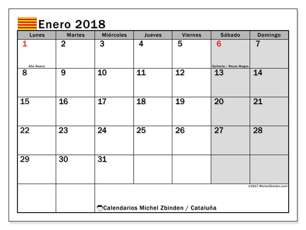 Calendario enero 2018, con los días festivos de Cataluña. Calendario para el mes para imprimir gratis.