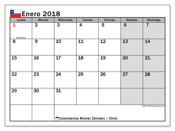 Calendario enero 2018, con los días feriados para Chile. Almanaque para imprimir gratis.