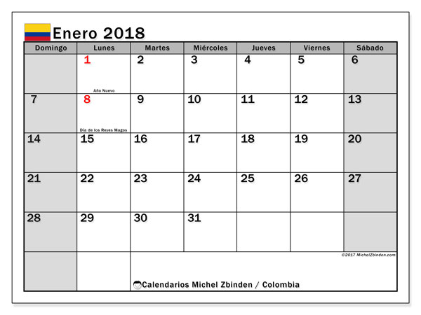 Calendario enero 2018, con los días festivos en Colombia. Calendario para imprimir gratis.