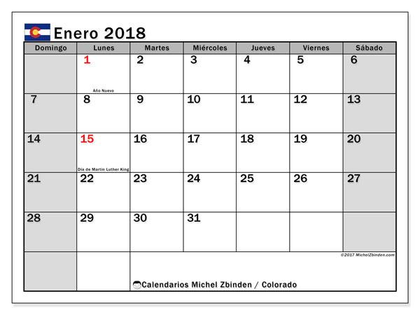 Calendario enero 2018, con los días feriados enColorado. Calendario para imprimir gratis.