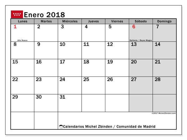 Calendario enero 2018, con los días festivos de la Comunidad de Madrid. Calendario gratuito para imprimir.