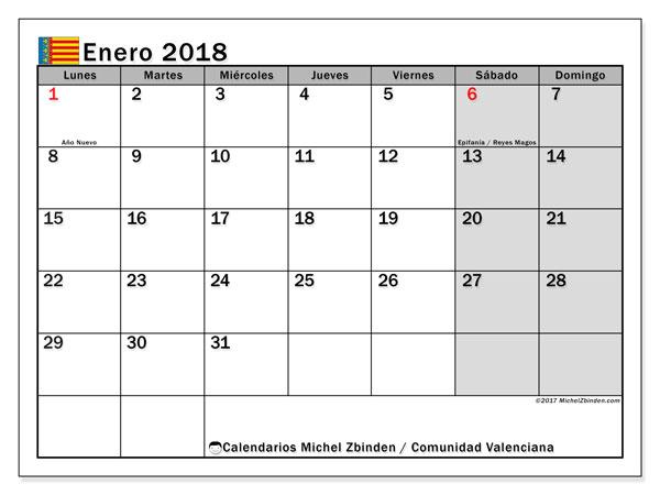 Calendario enero 2018, con los días festivos de la Comunidad Valenciana. Calendario imprimible gratis.