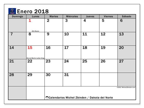 Calendario enero 2018, con los días feriados en Dakota del Norte. Almanaque para imprimir gratis.