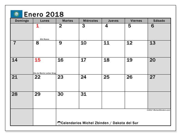 Calendario enero 2018, con los días feriados de Dakota del Sur. Calendario imprimible gratis.