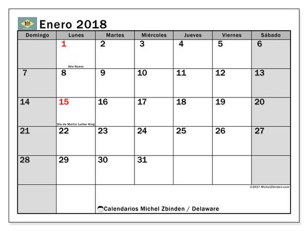 Calendario enero 2018, con los días feriados de Delaware. Calendario para el mes para imprimir gratis.