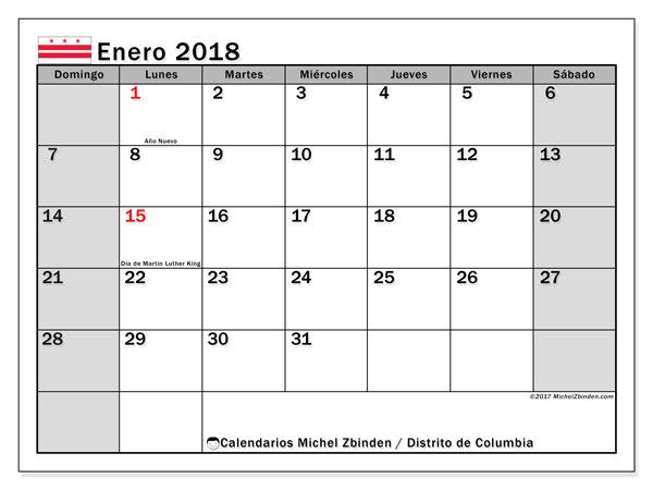 Calendario enero 2018, con los días feriados del Distrito de Columbia. Calendario para el mes para imprimir gratis.