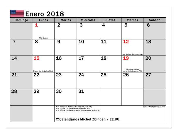 Calendario enero 2018, con los días feriados en EE.UU.. Calendario para el mes para imprimir gratis.