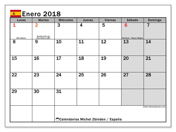 Calendario enero 2018, con los días festivos de España. Calendario gratuito para imprimir.