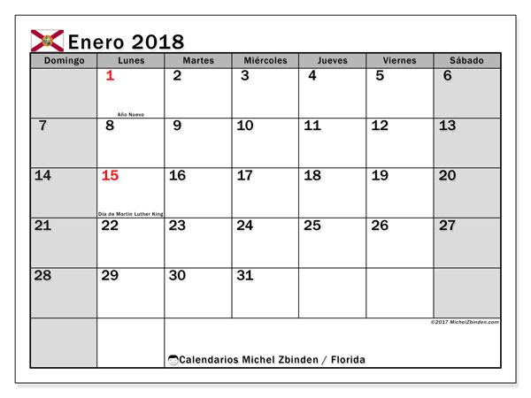 Calendario enero 2018, con los días feriados en Florida. Planificación para imprimir gratis.