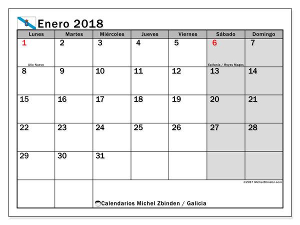 Calendario enero 2018, con los días festivos en Galicia. Almanaque para imprimir gratis.