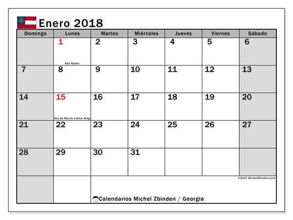 Calendario enero 2018, con los días feriados de Georgia. Calendario para el mes para imprimir gratis.