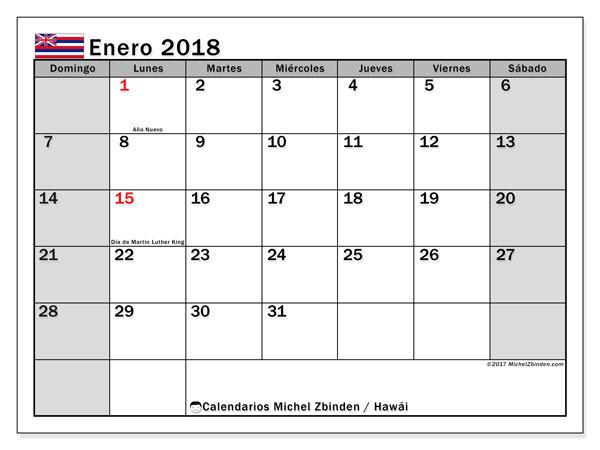 Calendario enero 2018, con los días feriados en Hawái. Calendario gratuito para imprimir.