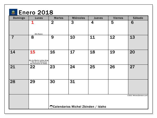 Calendario enero 2018, con los días feriados de Idaho. Calendario gratuito para imprimir.