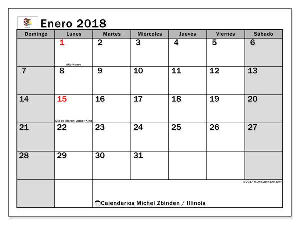 Calendario enero 2018, con los días feriados en Illinois. Almanaque para imprimir gratis.
