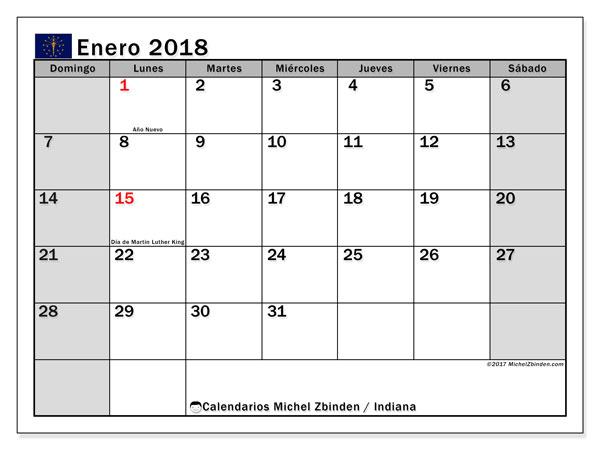Calendario enero 2018, con los días feriados de Indiana. Calendario imprimible gratis.