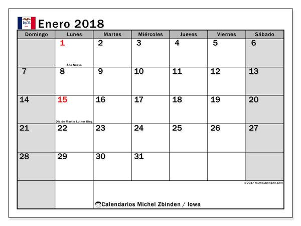 Calendario enero 2018, con los días feriados en Iowa. Calendario para el mes para imprimir gratis.