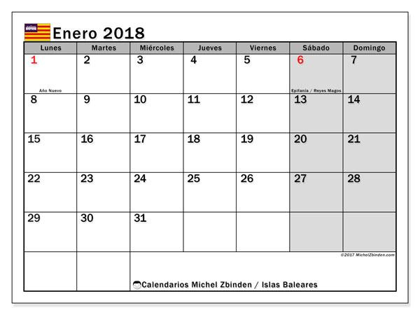 Calendario enero 2018, con los días festivos de las Islas Baleares. Calendario mensual para imprimir gratis.