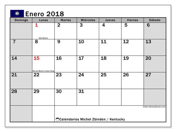 Calendario enero 2018, con los días feriados en Kentucky. Calendario gratuito para imprimir.