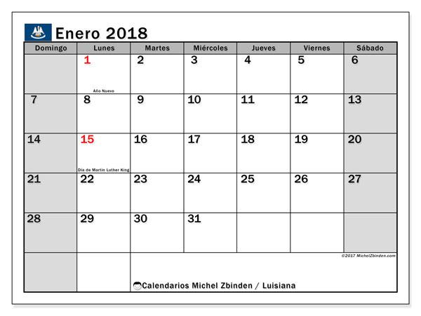 Calendario enero 2018, con los días feriados en Luisiana. Almanaque para imprimir gratis.