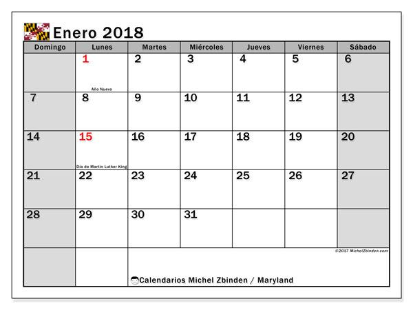 Calendario enero 2018, con los días feriados en Maryland. Calendario gratuito para imprimir.