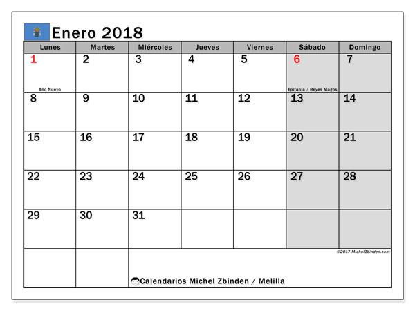 Calendario enero 2018, con los días festivos de Melilla. Calendario para imprimir gratis.