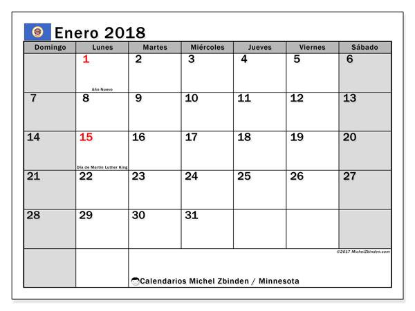 Calendario enero 2018, con los días feriados de Minnesota. Calendario mensual para imprimir gratis.