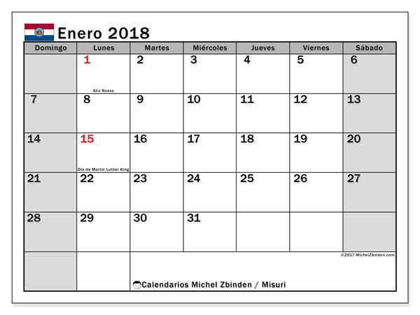 Calendario enero 2018, con los días feriados de Misuri. Calendario imprimible gratis.