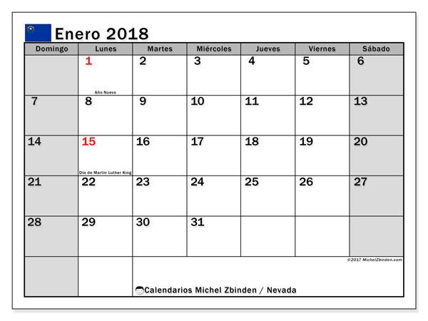Calendario enero 2018, con los días feriados en Nevada. Calendario gratuito para imprimir.