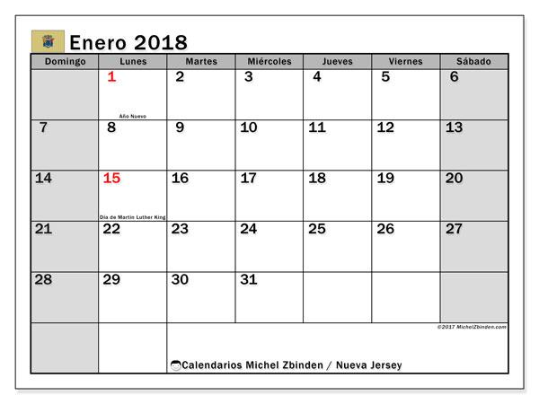 Calendario enero 2018, con los días feriados de Nueva Jersey. Calendario para imprimir gratis.