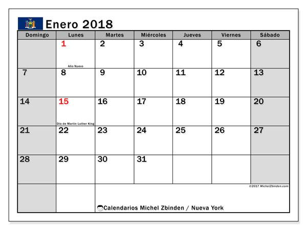 Calendario enero 2018, con los días feriados de Nueva York. Calendario imprimible gratis.