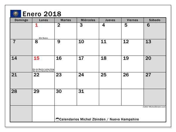 Calendario enero 2018, con los días feriados de Nuevo Hampshire. Almanaque para imprimir gratis.